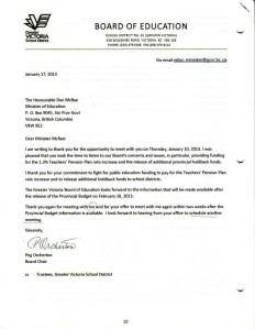SD61 Board Letter to Minister of Education January 17, 2013