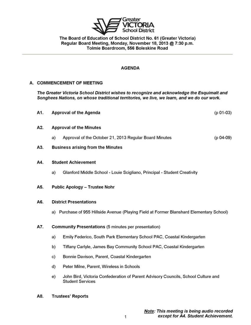 Nov 1813 Board Meeting The Record Off The Record Coastal – Board Meeting Agendas
