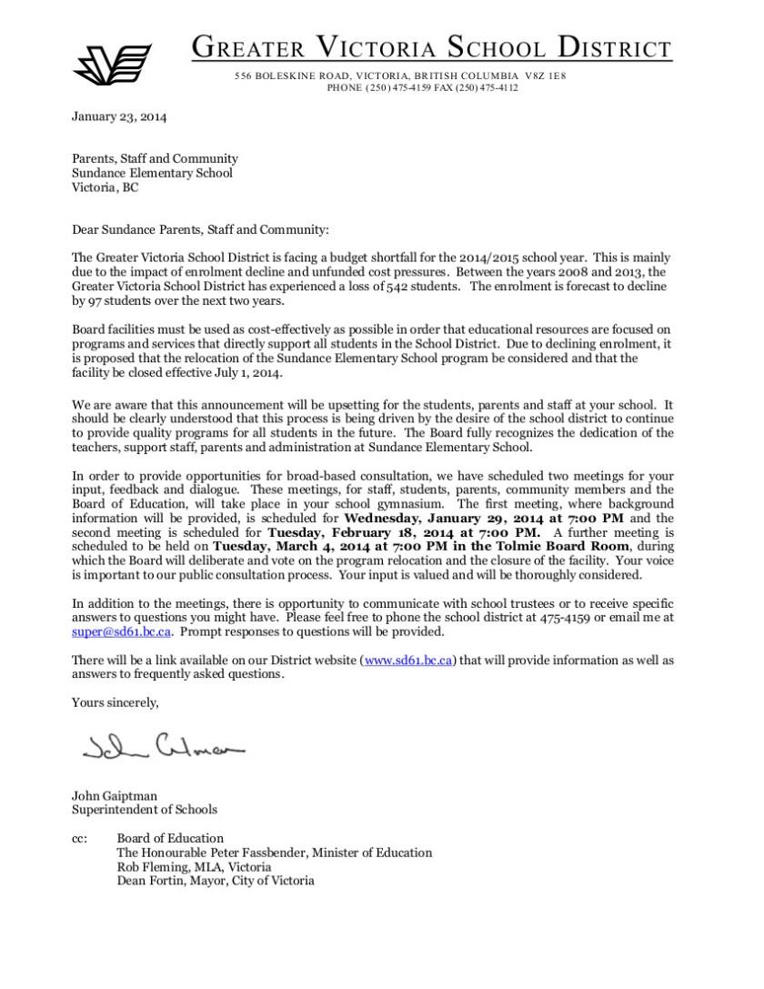 Letter to Sundance parents  staff re program move