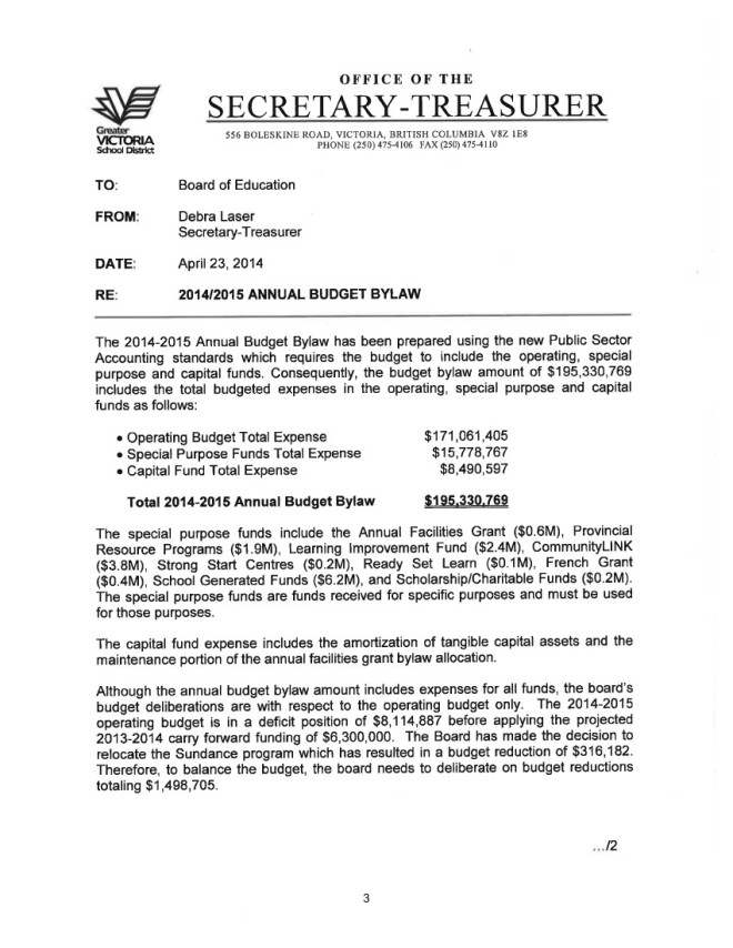 2014_04_23 Special Board Budget meeting bylaw 1