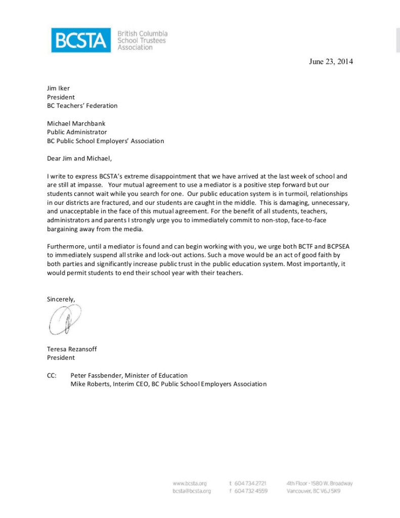 Letter to BCTF-BCPSEA re impasse June 23 2014