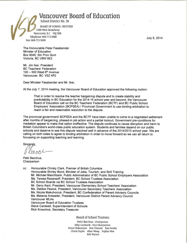 VSB July 8 2014 Binding Arbitration Letter