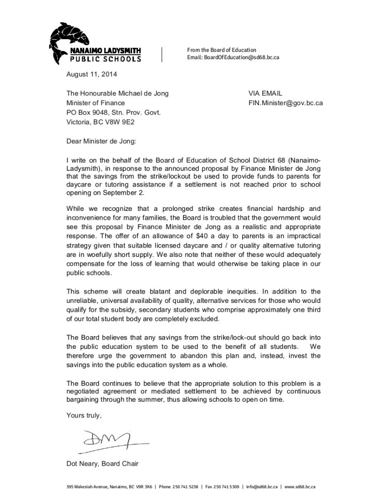 2014 Aug 11 1 Nanaimo Ladysmith SD68 to M.de Jong-- bargaining, $40 proposal