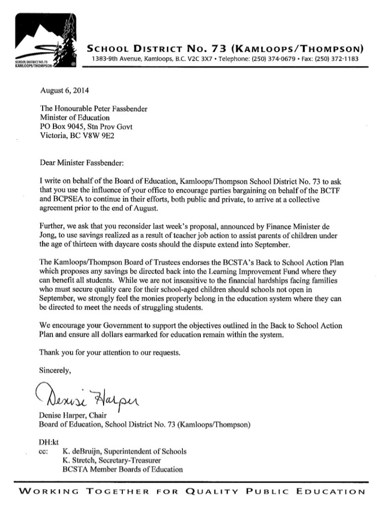 2014 Aug 6 Kamloops Thompson SD73 to P.Fassbender-- bargaining, de Jong $40 proposal, Back to School Action Plan