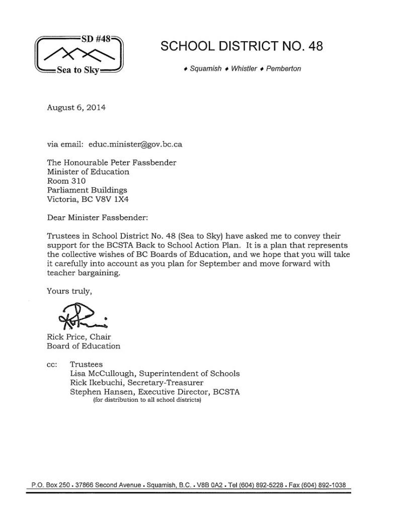 2014 Aug 6 Squamish Whistler Pemberton SD48 to P.Fassbender-- bargaining, Back to School Action Plan