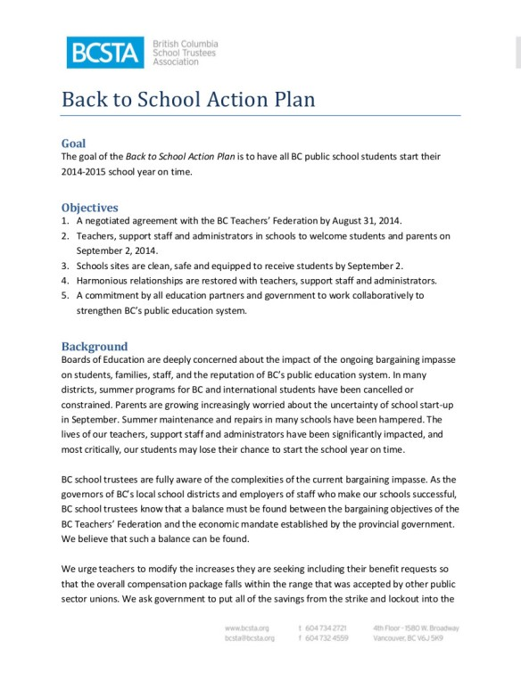 2014 August 28 BCSTA Back to School Plan