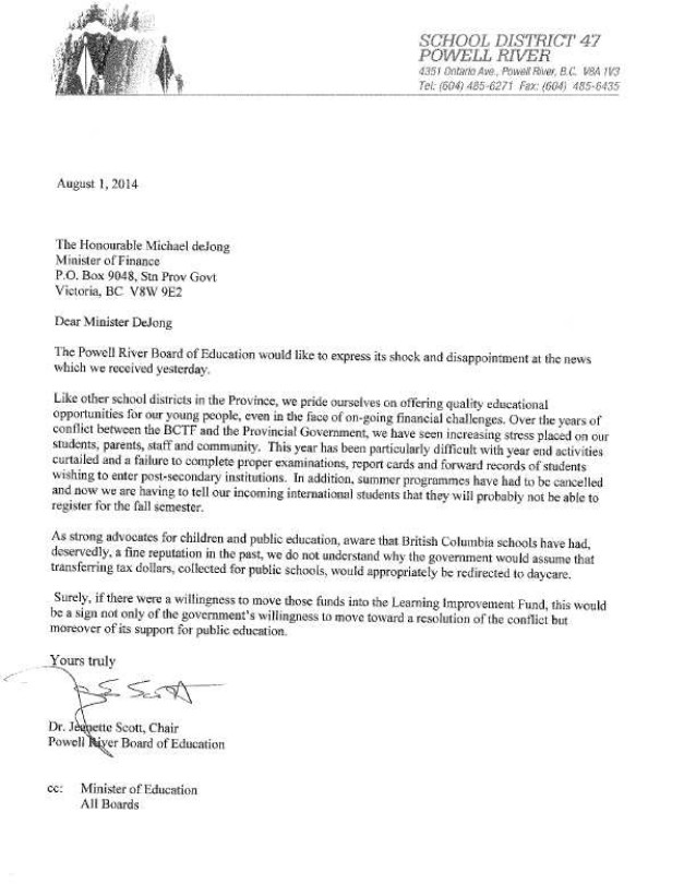 August 1 2014 SD47 to M.de Jong-- bargaining, $40 proposal, LIF