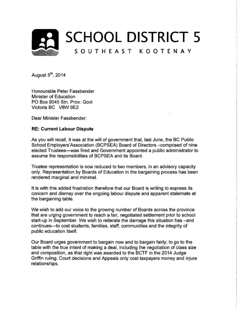 August 5 2014 SD5 1 to P.Fassbender-- bargaining, current labour dispute