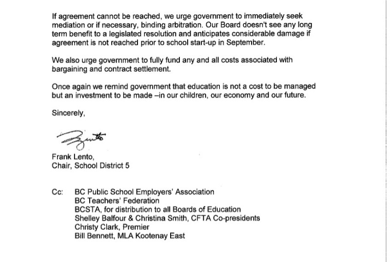 August 5 2014 SD5 2 to P.Fassbender-- bargaining, current labour dispute