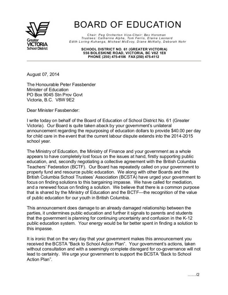 August 7 2014 SD61 1 Letter to Minister Fassbender re $40 per day