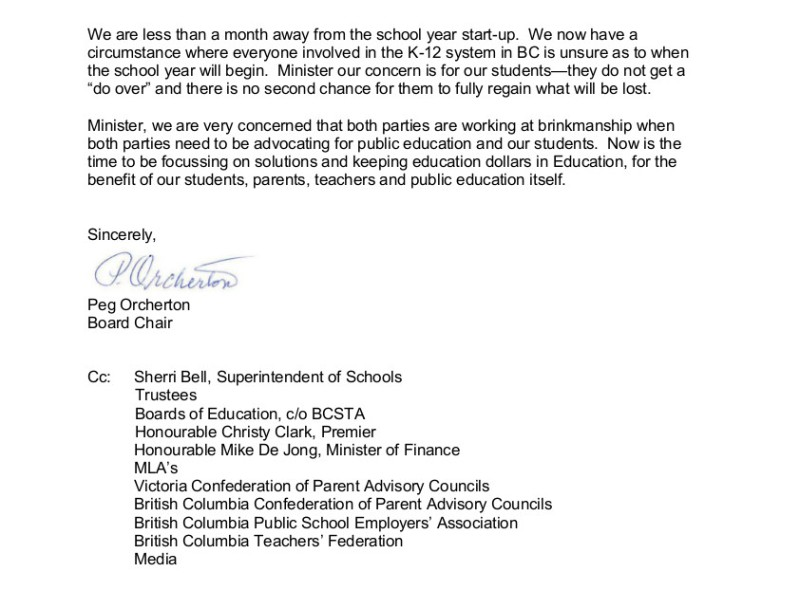August 7 2014 SD61 2 Letter to Minister Fassbender re $40 per day