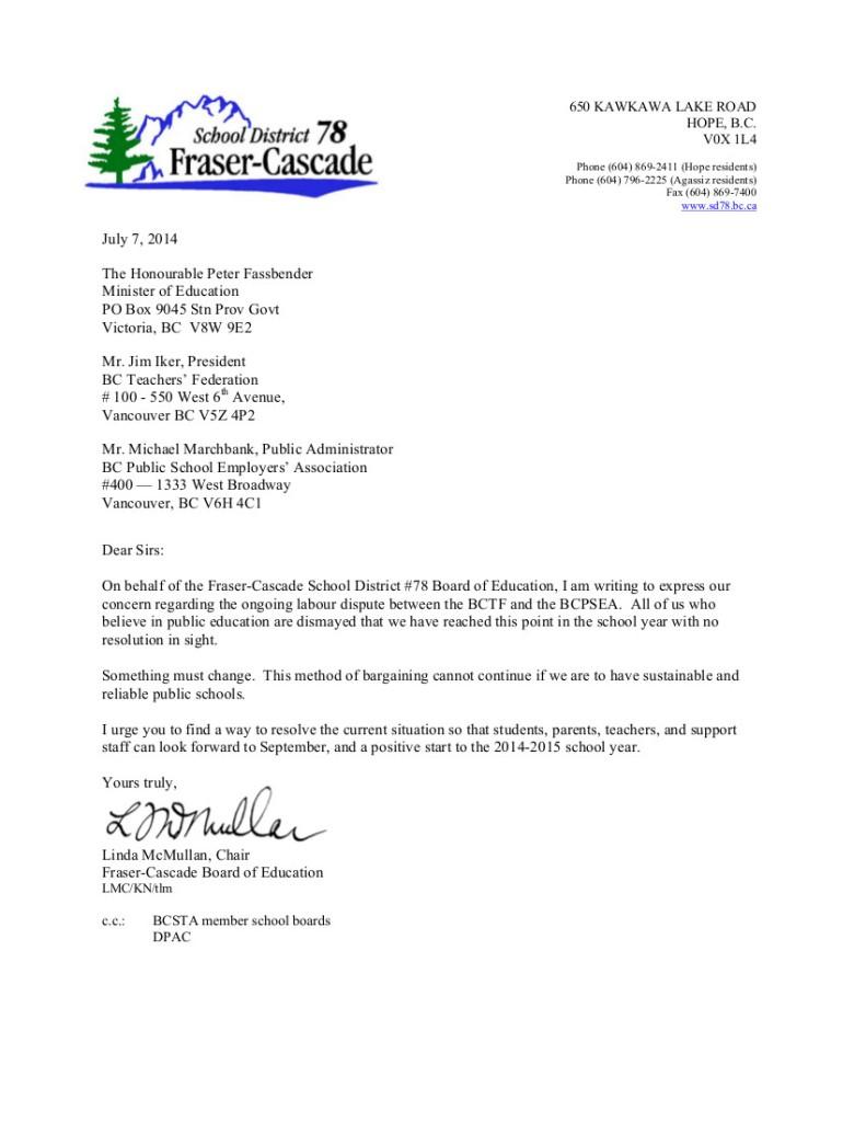 Fraser Cascade SD78 t July 7 P.Fassbender, J.Iker, and M.Marchbank-- bargaining