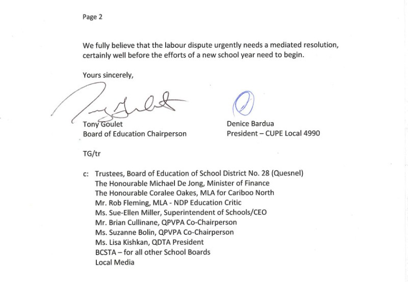 July 11 2014 SD28 2  to C.Clark, P.Fassbender, M.Roberts, and J.Iker-- bargaining
