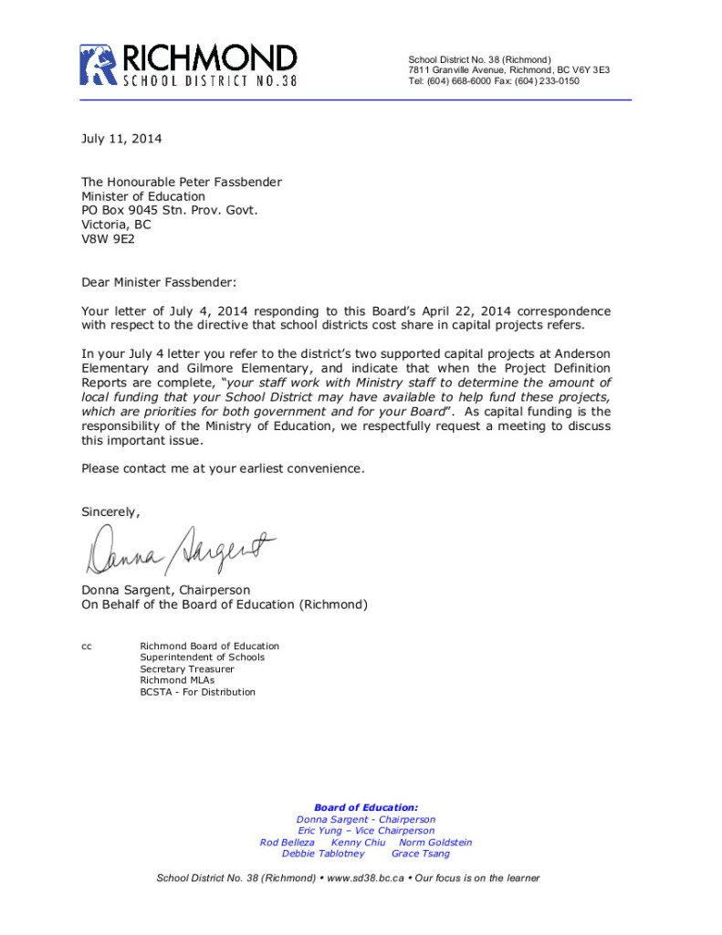 July 11 2014 SD38 to P.Fassbender-- capital funding