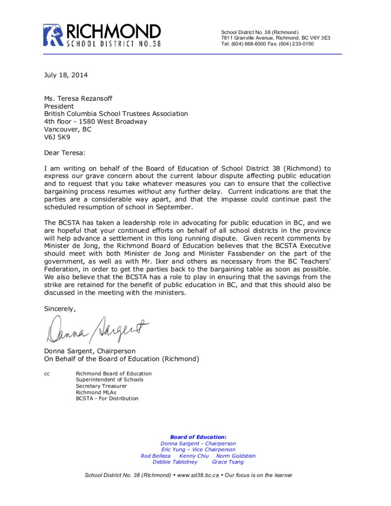 July 18 2014 SD38 to T.Rezansoff-- bargaining