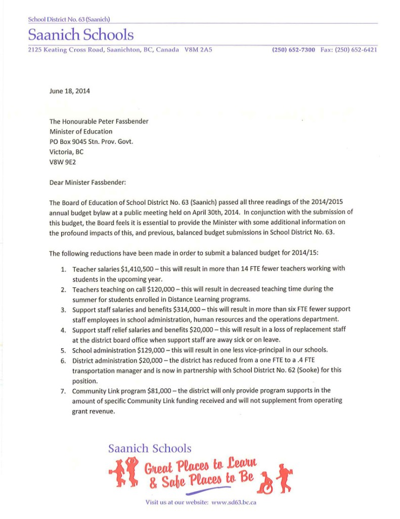 Saanich SD63 June 18 1 Ltr to Minister Fassbender re Funding