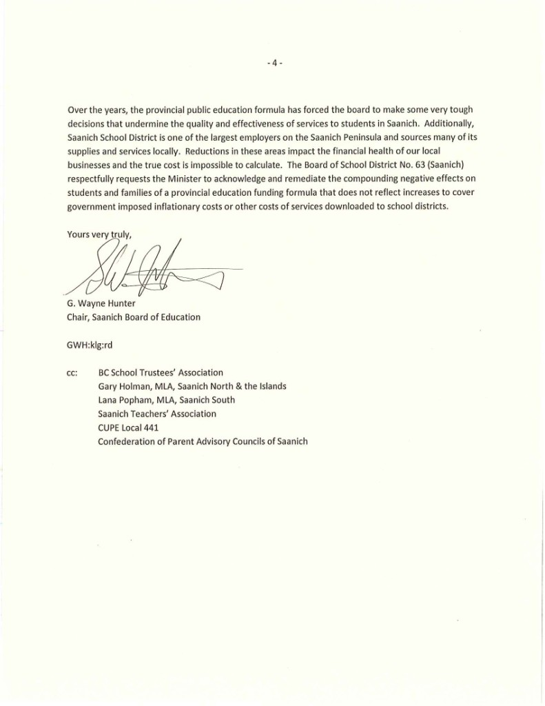 Saanich SD63 June 18 4 Ltr to Minister Fassbender re Funding