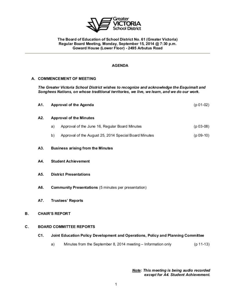 2014 Sept 14 Board agenda 1