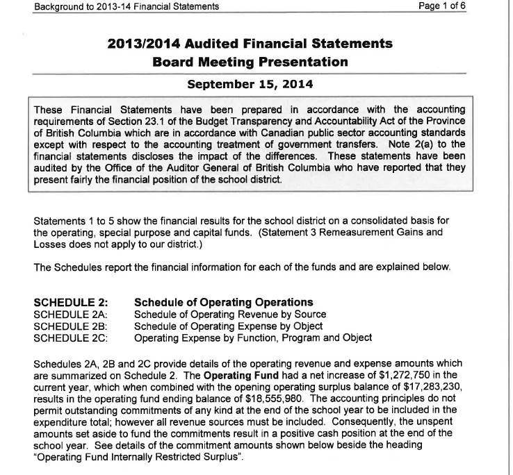 2014 Sept 14 Board agenda audit