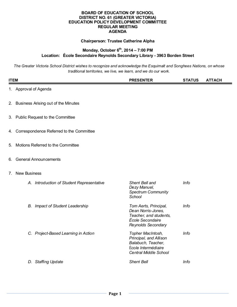 2014 Ed Policy Oct 6 Agenda 1