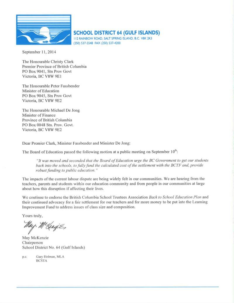 2014 Sept 11 SD64   bargaining, strike