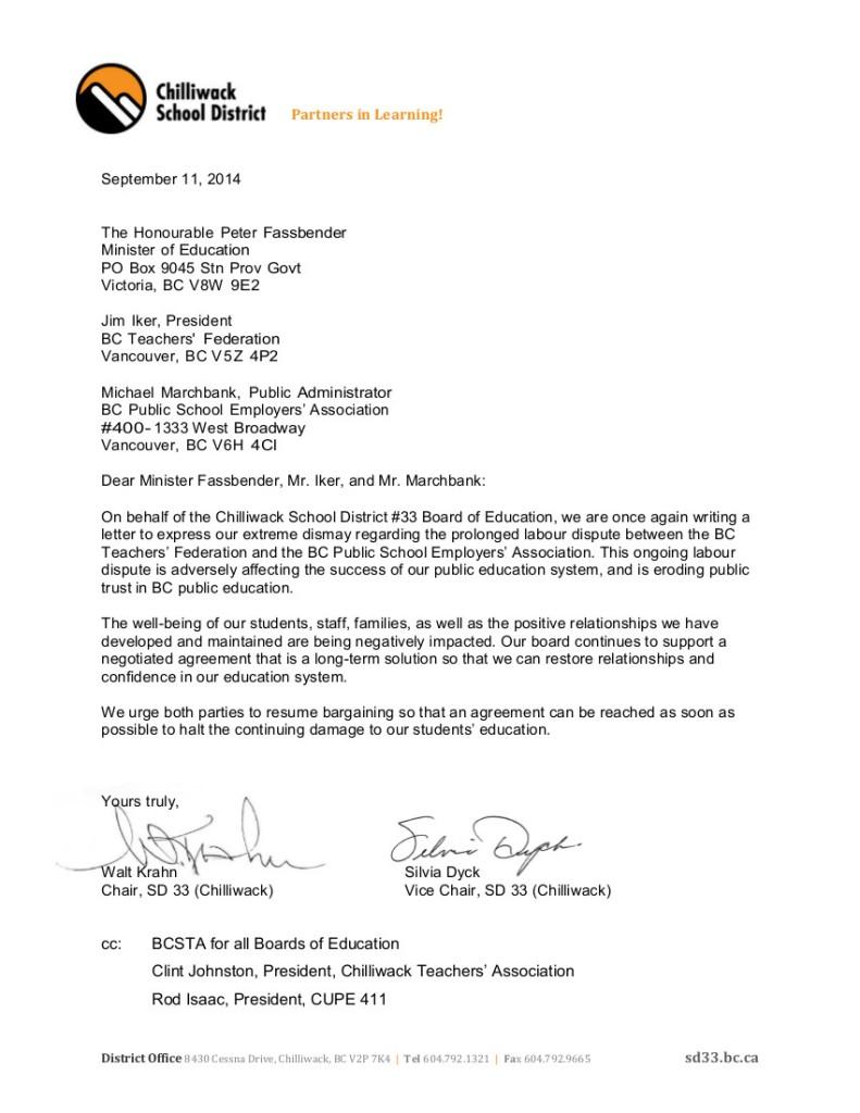 2014 Sept 12 SD33 bargaining, strike