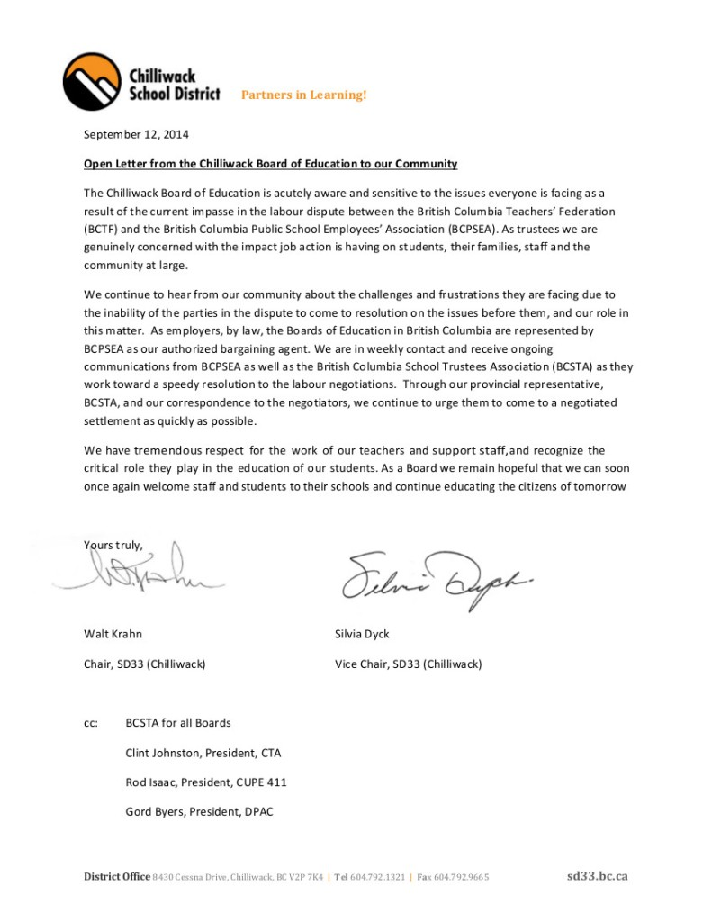 2014 Sept 12 SD33 open letter-- bargaining, role of Boards