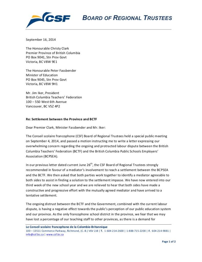 2014 Sept 16 SD93 bargaining, strike 1