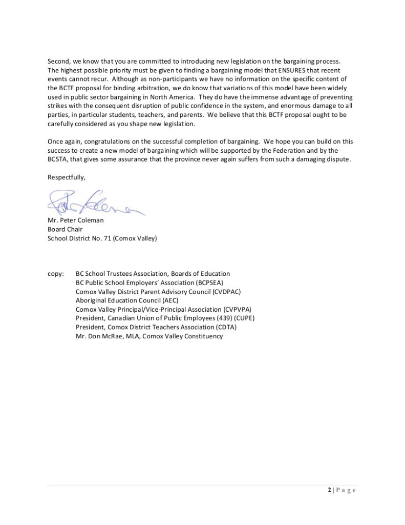 2014 Sept 23 SD71 bargaining structure and Boards 2