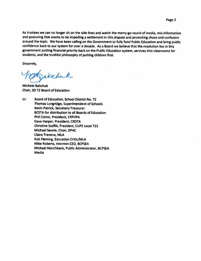 2014 Sept 9 SD72  bargaining, strike 2