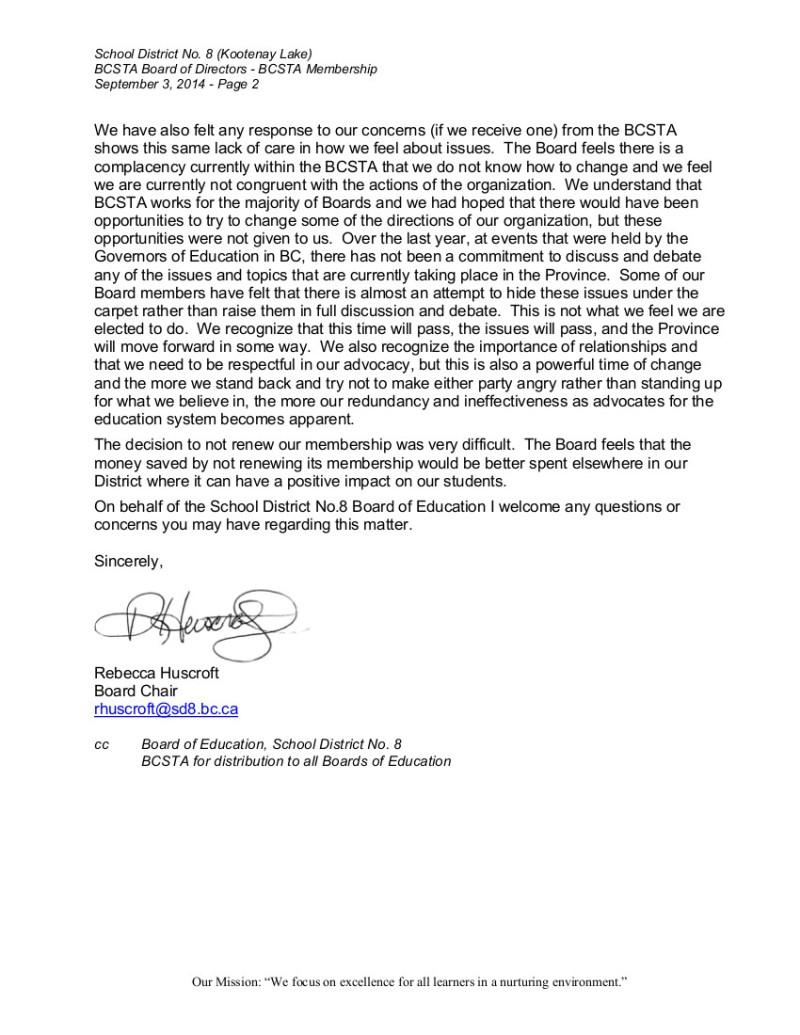 Kootenay Lake to BCSTA Board-- BCSTA membership 2