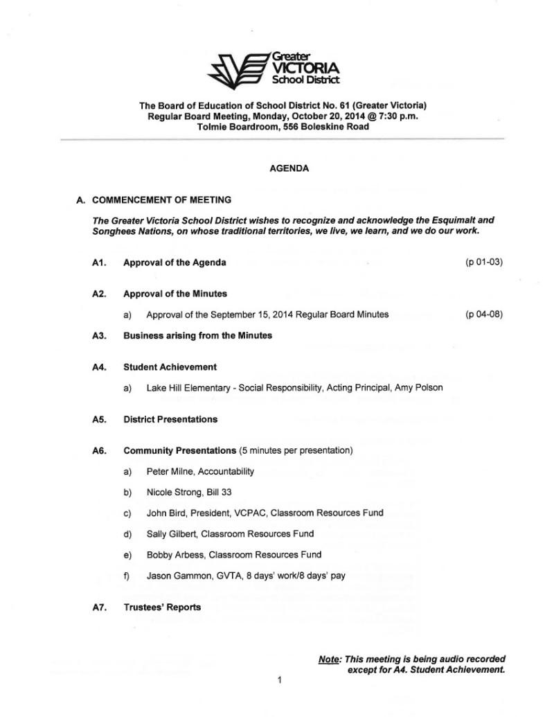 Oct 20 2014 Board agenda p 1