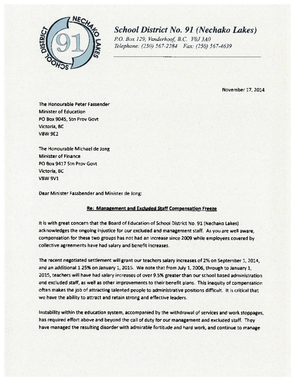 13 2014-11-17 SD91 Nechako Lakes management and excluded staff compensation freeze 1