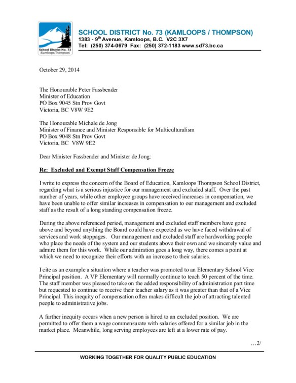 24 2014-10-29 SD73 Kamloops Thompson excluded and exempt staff compensation freeze 1