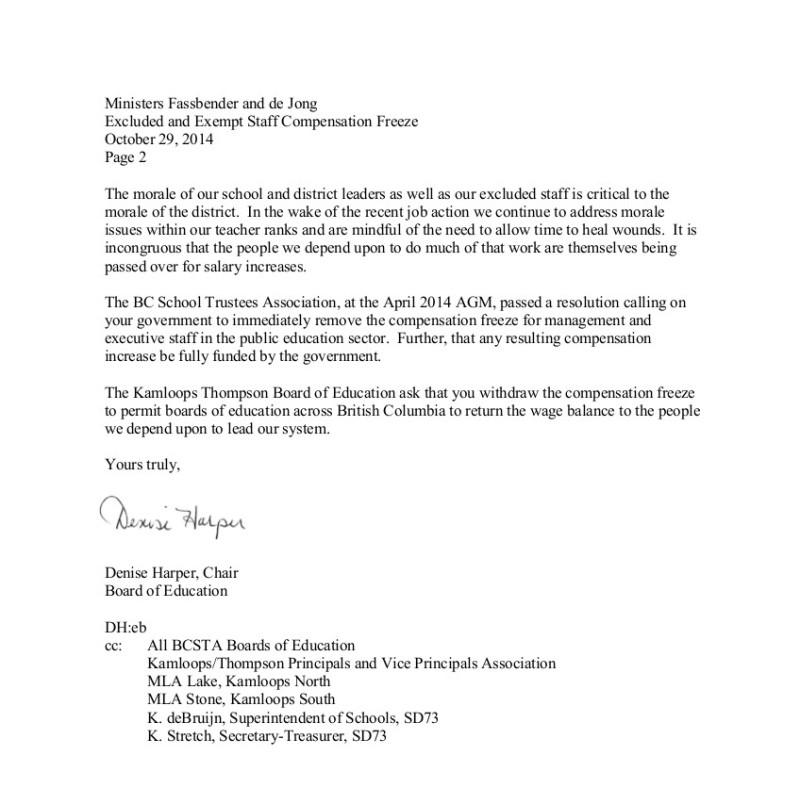 25 2014-10-29 SD73 Kamloops Thompson excluded and exempt staff compensation freeze 2