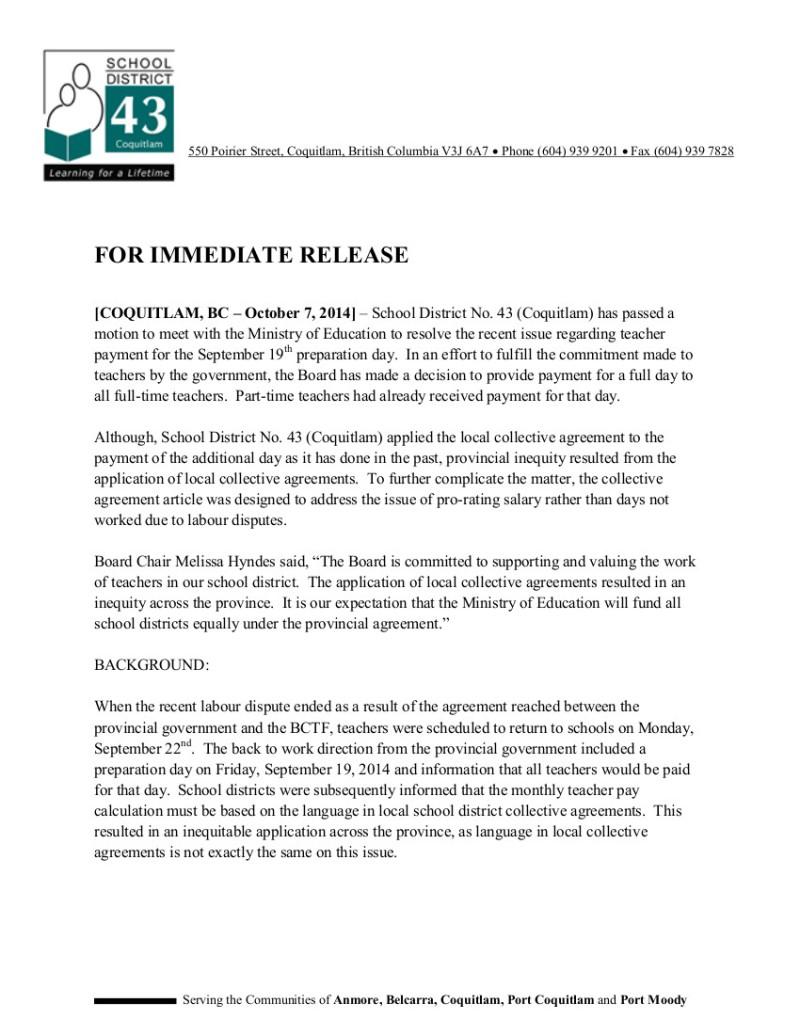 2014 10 7 Coquitlam News Release Teachers Pay
