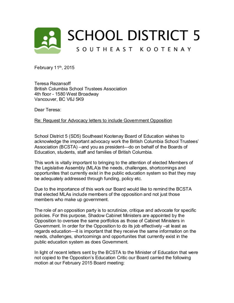 1 2015-02-12 D5 request for BCSTA advocacy letters to include Opposition 1