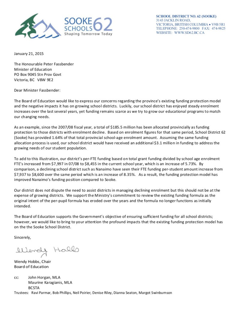 2015 01 21 SD62 Funding Protection Letter to Minister