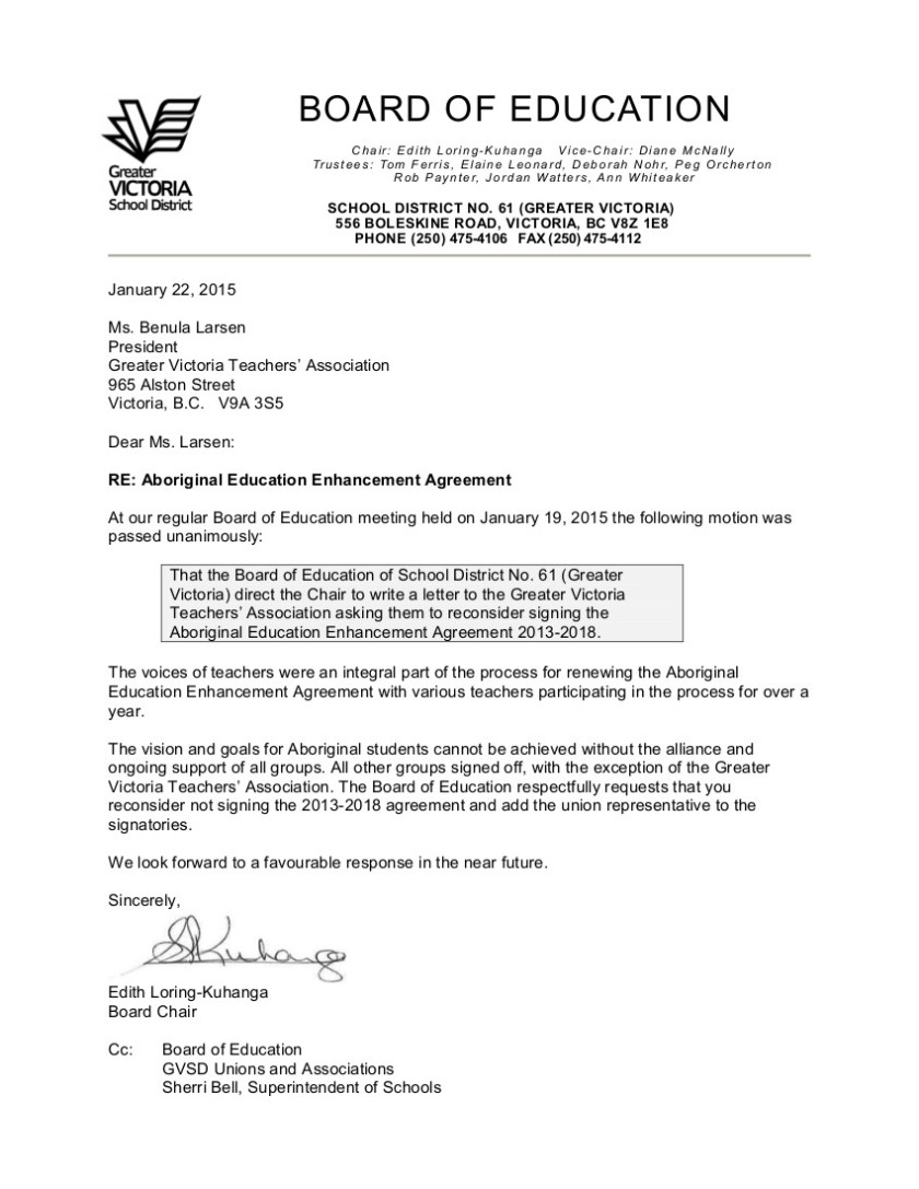 2015 01 22 SD61 letter to the GVTA re Aboriginal Education Enhancement Agreement