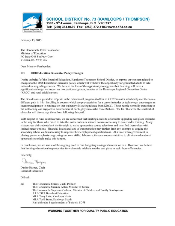 9 2015-02-16 SD73 2008 Education Guarantee policy changes