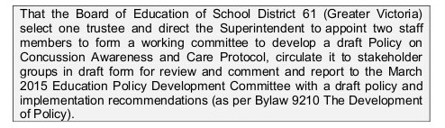 Ed Policy concussion motion