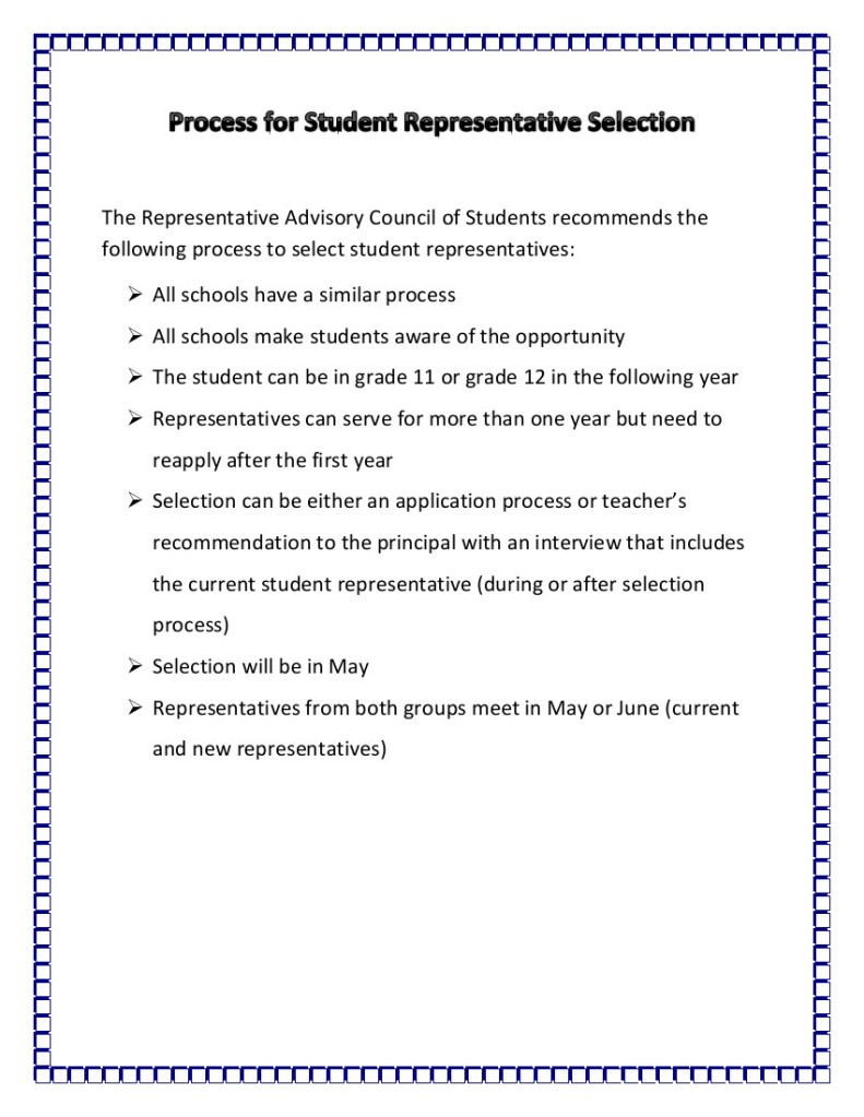 Process for Student Representative Selection Jan 14 2015
