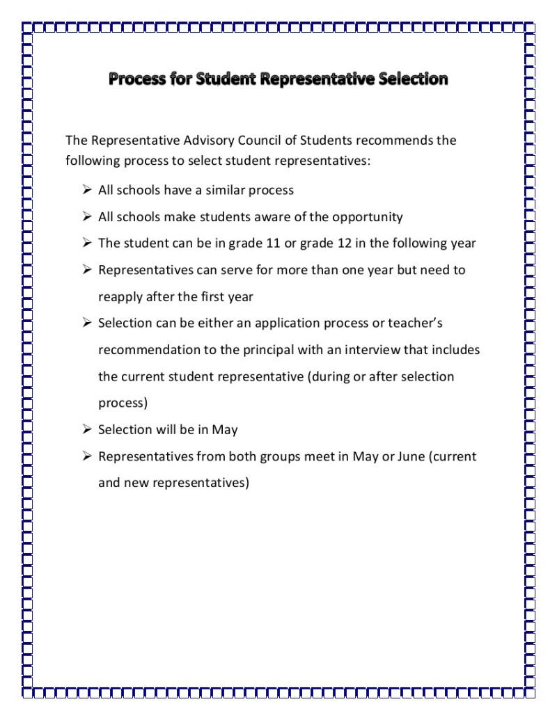 Process for Student Representative Selection Jan 14 2015