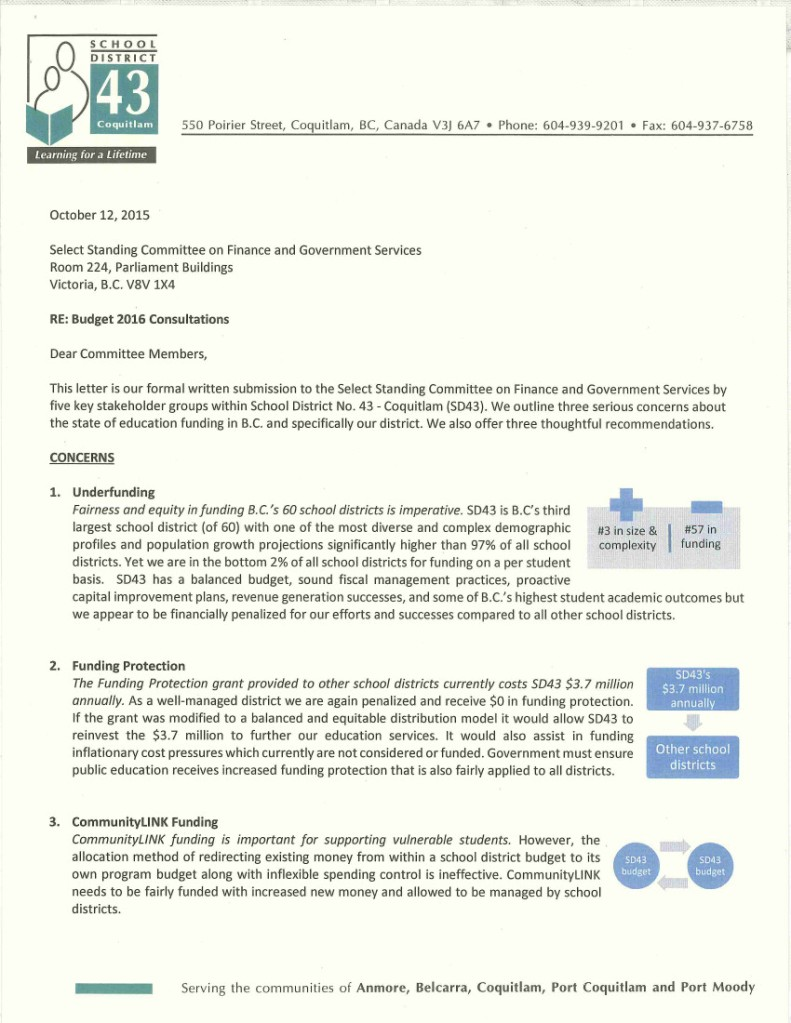 2015-10-12 SD43 to LettertoFinanceCommittee 1