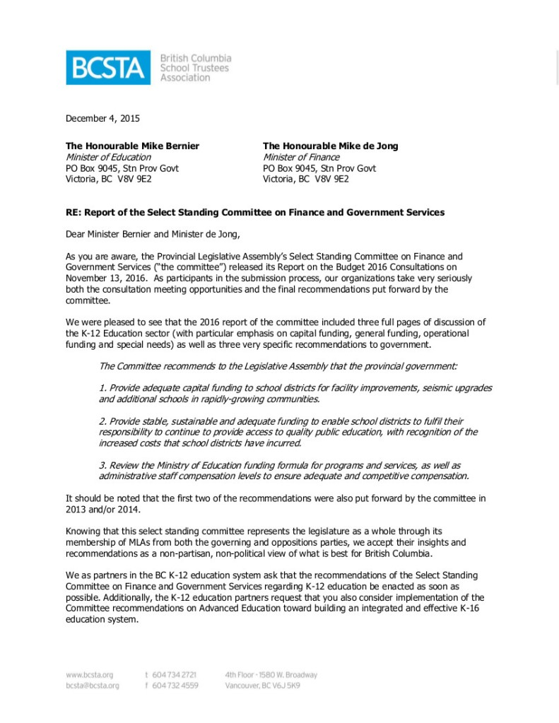 2015-12-04 Partner Groups re Select Standing Committee report on Finance...-1