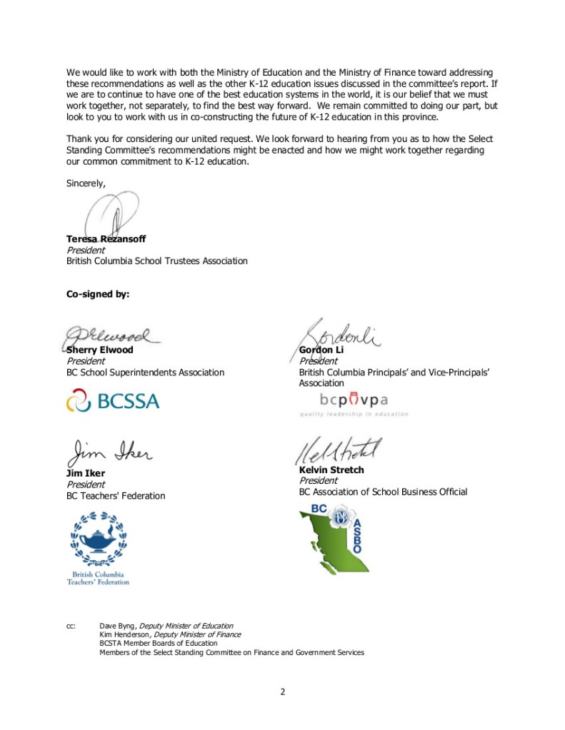 2015-12-04 Partner Groups re Select Standing Committee report on Finance...-2