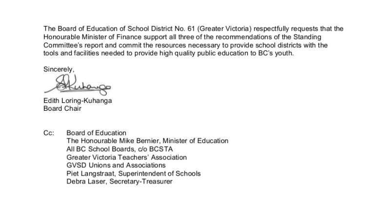 2015 12 15 Ltr to Minister of Finance re K-12 funding 2
