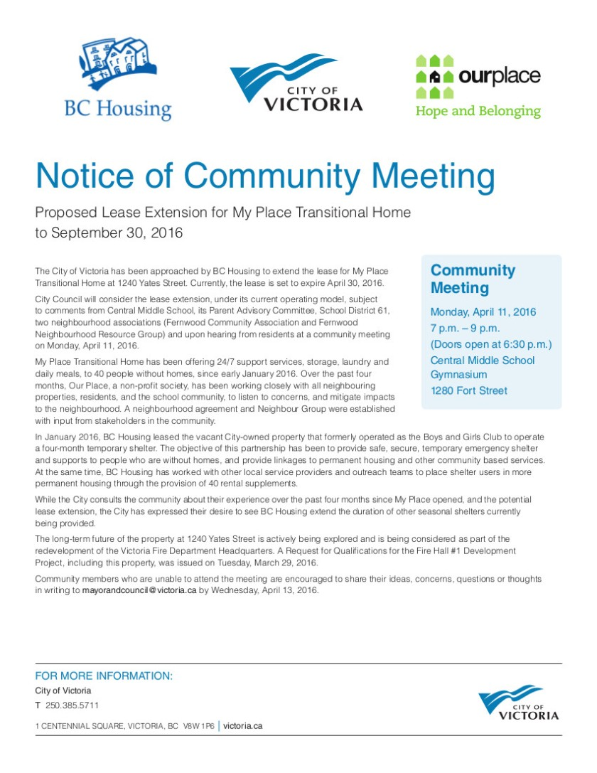 Notice of Community Meeting April 11, 2016