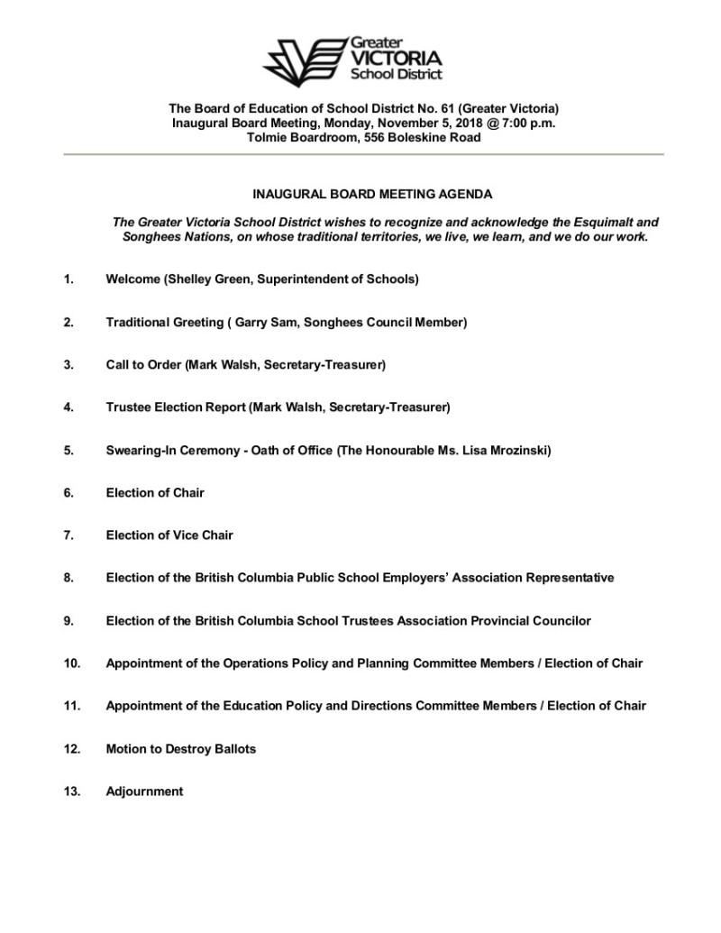 Nov 5 2018_Inaugural Agenda