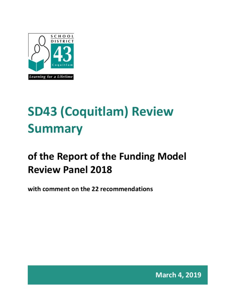 1 March 2019 SD43 Funding Model Review - Board Response 030